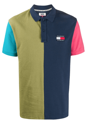 Tommy Hilfiger panelled logo polo shirt - Blue