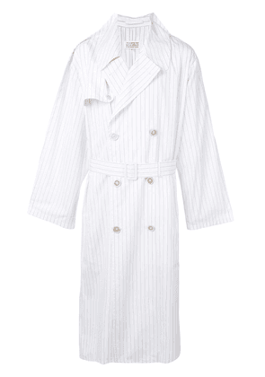 Maison Margiela pinstriped belted trench coat - White