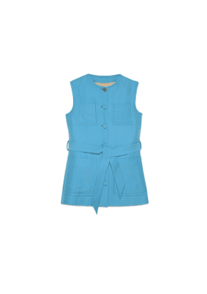 Wool silk vest with self-belt