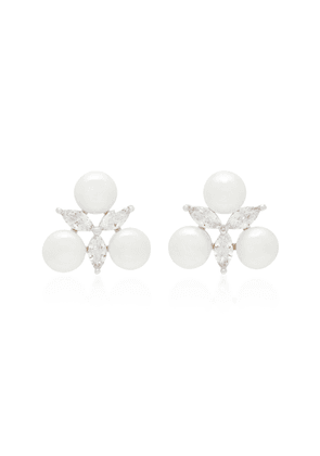 FALLON Faux Pearl, Crystal And Silver-Plated Earrings