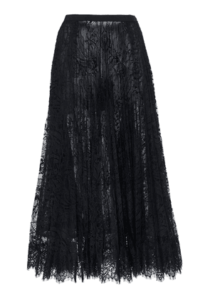 Andrew Gn Pleated Chantilly Lace Midi Skirt
