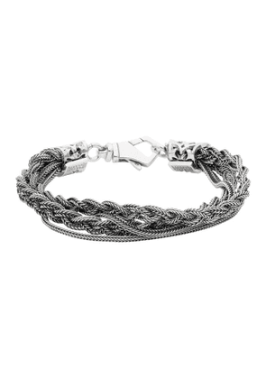 Emanuele Bicocchi Silver Double Chain and Braided Bracelet