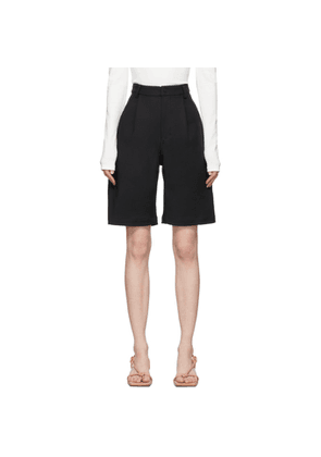 Dion Lee Black Vented Pleat Shorts