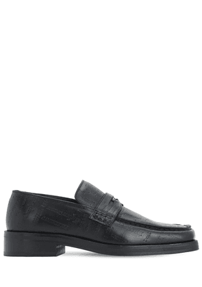 Roxy Embossed Leather Loafers