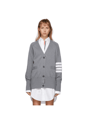 Thom Browne Grey Exaggerated Sleeve 4-Bar Cardigan