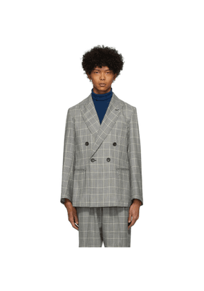 Blue Blue Japan Black and White Kasuri Wool Glen Check Double Breasted Dud Jacket