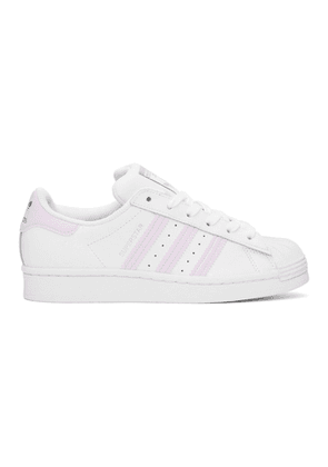 adidas Originals White and Purple Superstar Sneakers