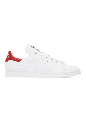 adidas Originals White and Red Stan Smith Sneakers