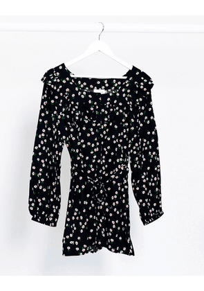 Topshop tea playsuit with frill detail in black spot