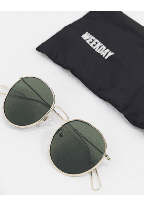 Weekday Explore round sunglasses with green lenses-Gold