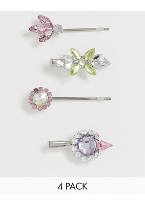 ASOS DESIGN pack of 4 hair clips with colour crystal and jewels in silver tone