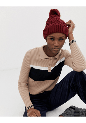 ASOS DESIGN cable knit faux fur pom beanie-Red