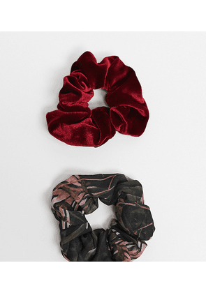 ASOS DESIGN pack of 2 scrunchies in organza and velvet-Multi