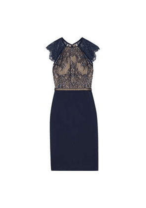 Catherine Deane Noella Crochet-trimmed Lace And Ponte Dress Woman Midnight blue Size 6