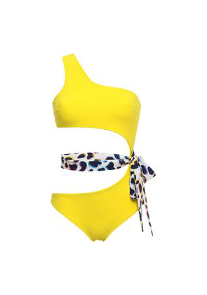 Emma Pake Fabia One-shoulder Belted Cutout Swimsuit Woman Yellow Size L