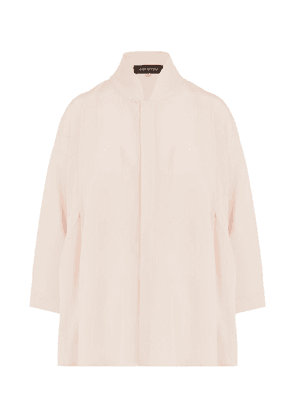 Chinese Collar Pleat Shoulder Shirt