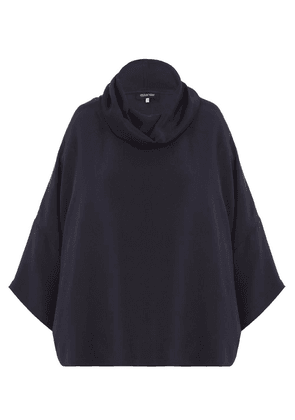 Cowl-Neck Drop-Shoulder Silk Top