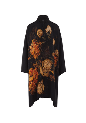 Mandarin Collar Floral Silk Shirt