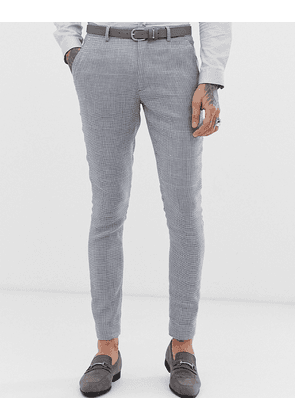 ASOS DESIGN wedding super skinny suit trousers in grey check linen