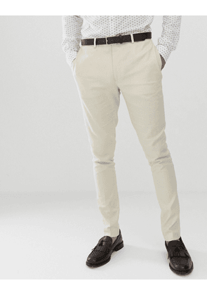 ASOS DESIGN wedding super skinny suit trousers in stone linen