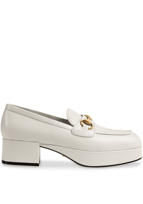 Gucci Leather platform loafer with Horsebit - White