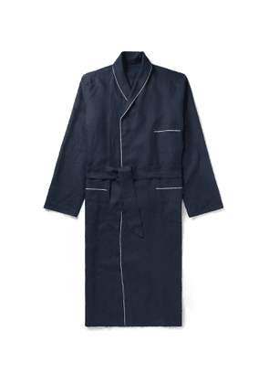 Anderson & Sheppard - Piped Linen Robe - Men - Blue