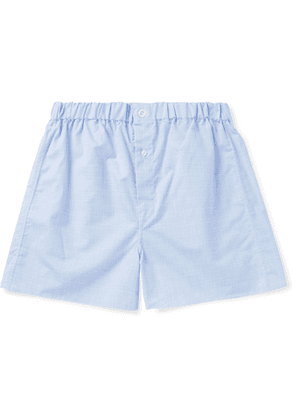 Emma Willis - Prince Of Wales Checked Cotton-poplin Boxer Shorts - Blue