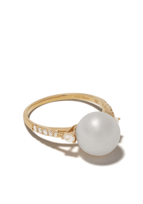 Yoko London 18kt yellow gold Classic Freshwater pearl and diamond ring