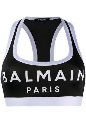 Balmain logo sports bra - Black
