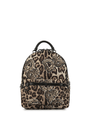 Dolce & Gabbana leopard logo print backpack - Brown