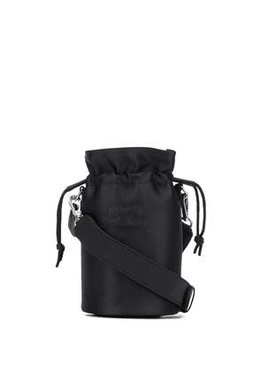 Courrèges quilted-logo cylindrical bucket bag - Black