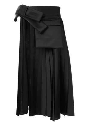 Dice Kayek cut-out detail pleated overskirt - Black