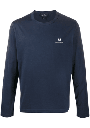 Belstaff crew neck embroidered logo sweater - Blue