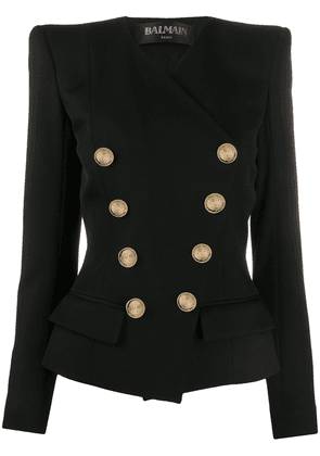 Balmain embossed-button double-breasted blazer - Black
