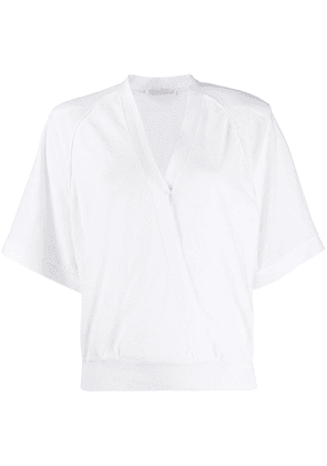 Agnona wrap-style knitted top - White