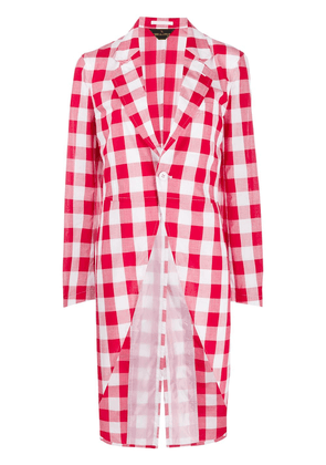 Comme Des Garçons checked print tailcoat - Red