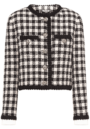 Miu Miu gingham check tweed jacket - Black