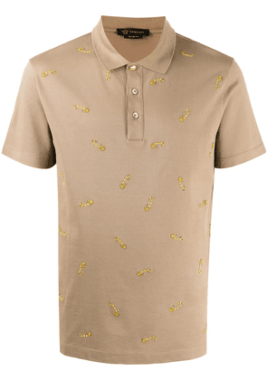Versace Safety Pin polo shirt - Brown