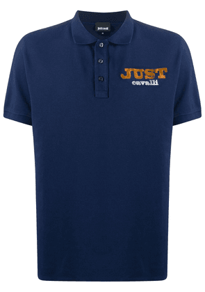 Just Cavalli logo embroidered buttoned polo shirt - Blue