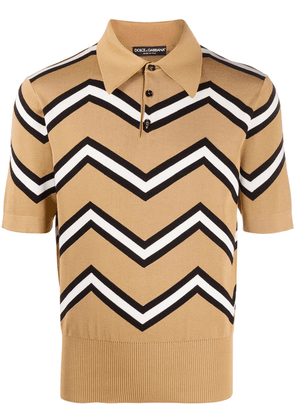 Dolce & Gabbana zig-zag polo shirt - Brown