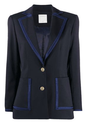 Sandro Paris fitted contrast-trim blazer - Blue