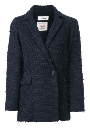 Coohem cropped sleeve tweed jacket - Blue