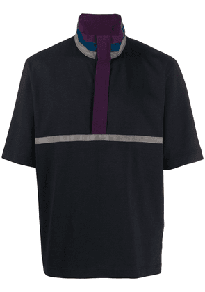 Sacai stand up collar polo shirt - Blue