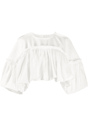 Comme Des Garçons cropped ruffle shawl top - White