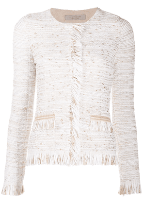 D.Exterior tweed fringed edge jacket - White