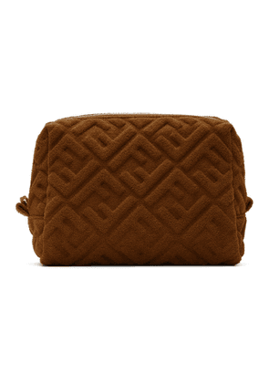 Fendi Brown Terrycloth Small Forever Fendi Beauty Pouch