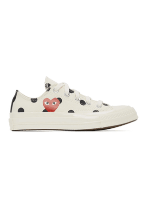 Comme des Garcons Play White Converse Edition Polka Dot Heart Chuck 70 Low Sneakers