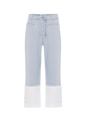 Paneled high-rise straight jeans
