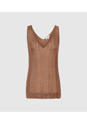 Reiss Alice - Metallic Knitted Top in Rose Gold, Womens, Size XS