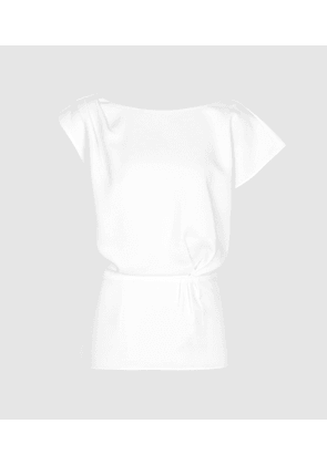 Reiss Dani - Capped Sleeve Top in White, Womens, Size 4